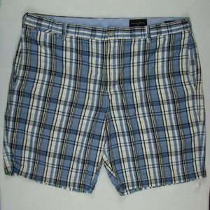 Mens Plaid Checkered Shorts Size 38 Blue/White
